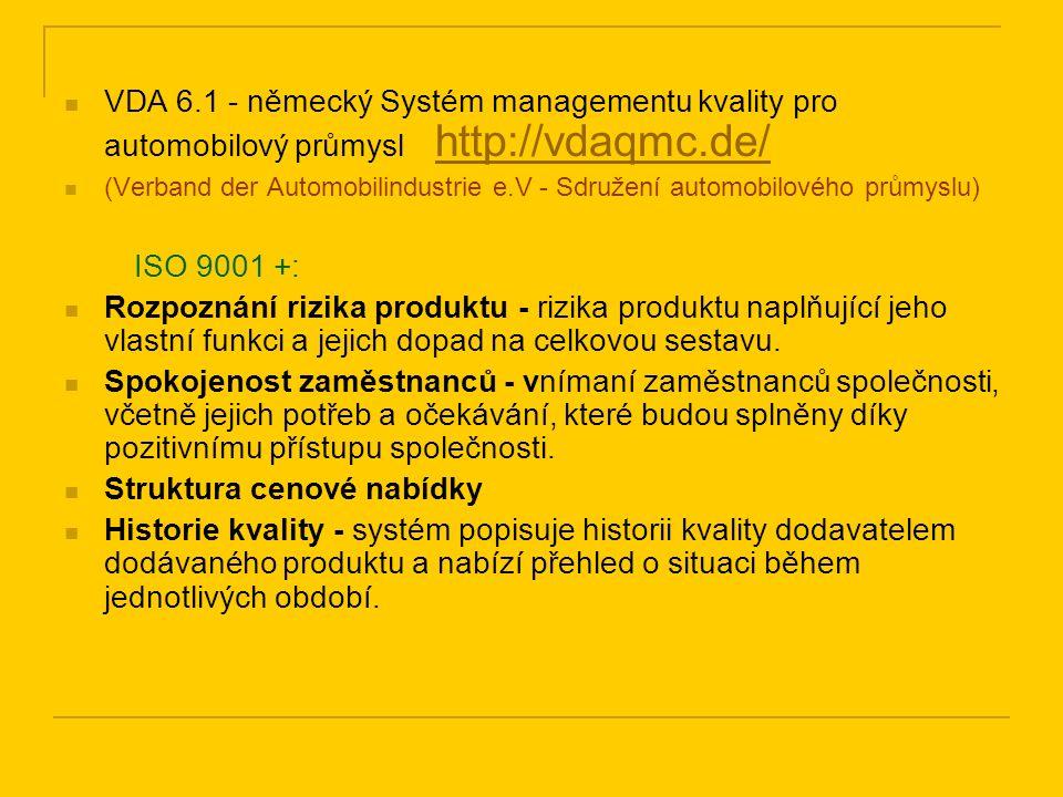 VDA 6.1 - německý Systém managementu kvality pro automobilový průmysl http://vdaqmc.de/ http://vdaqmc.de/ (Verband der Automobilindustrie e.V - Sdruže