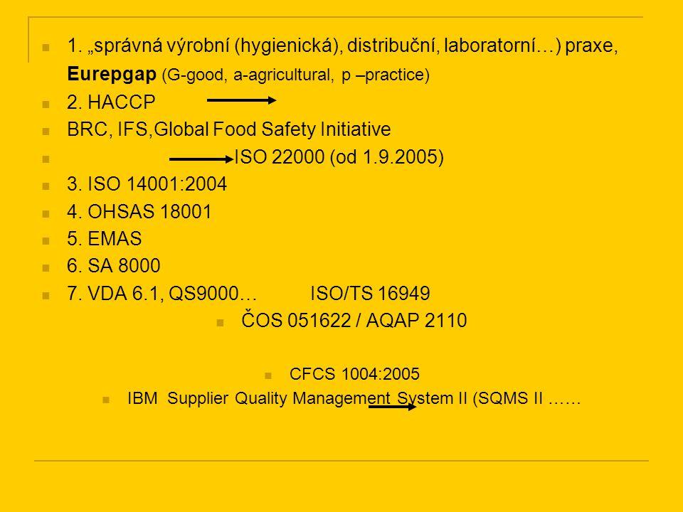 """1. """"správná výrobní (hygienická), distribuční, laboratorní…) praxe, Eurepgap (G-good, a-agricultural, p –practice) 2. HACCP BRC, IFS,Global Food Safet"""