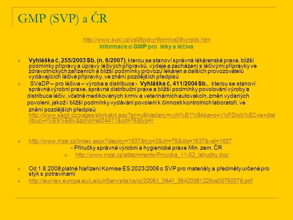 GMP (SVP) a ČR http://www.sukl.cz/cs08pokynform/cs08vyrpok.htm Informace o GMP pro léky a léčiva Vyhláška č. 255/2003 Sb. (n. 6/2007), kterou se stano