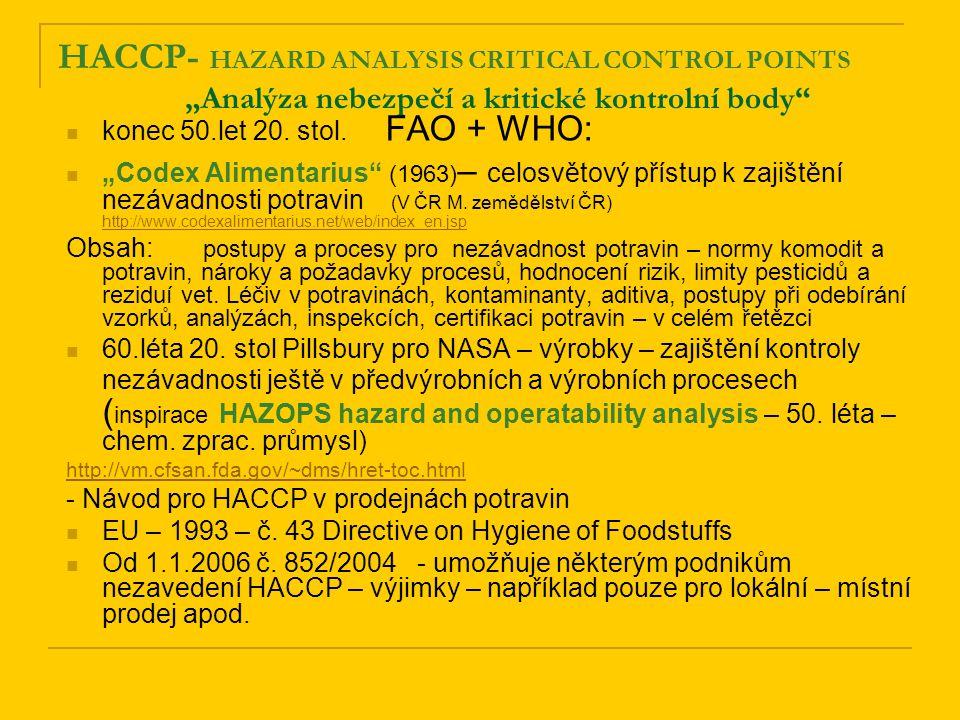 "HACCP- HAZARD ANALYSIS CRITICAL CONTROL POINTS ""Analýza nebezpečí a kritické kontrolní body"" konec 50.let 20. stol. FAO + WHO: ""Codex Alimentarius"" (1"