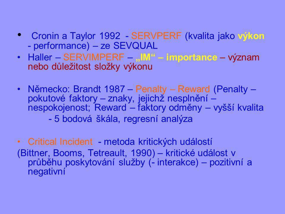 """Cronin a Taylor 1992 - SERVPERF (kvalita jako výkon - performance) – ze SEVQUAL Haller – SERVIMPERF – """"IM – importance – význam nebo důležitost složky výkonu Německo: Brandt 1987 – Penalty – Reward (Penalty – pokutové faktory – znaky, jejichž nesplnění – nespokojenost; Reward – faktory odměny – vyšší kvalita - 5 bodová škála, regresní analýza Critical Incident - metoda kritických událostí (Bittner, Booms, Tetreault, 1990) – kritické událost v průběhu poskytování služby (- interakce) – pozitivní a negativní"""