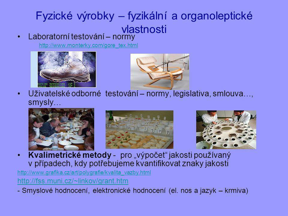 """Fyzické výrobky – fyzikální a organoleptické vlastnosti Laboratorní testování – normy http://www.monterky.com/gore_tex.html Uživatelské odborné testování – normy, legislativa, smlouva…, smysly… Kvalimetrické metody - pro """"výpočet jakosti používaný v případech, kdy potřebujeme kvantifikovat znaky jakosti http://www.grafika.cz/art/polygrafie/kvalita_vazby.html http://fss.muni.cz/~linkov/grant.htm - Smyslové hodnocení, elektronické hodnocení (el."""