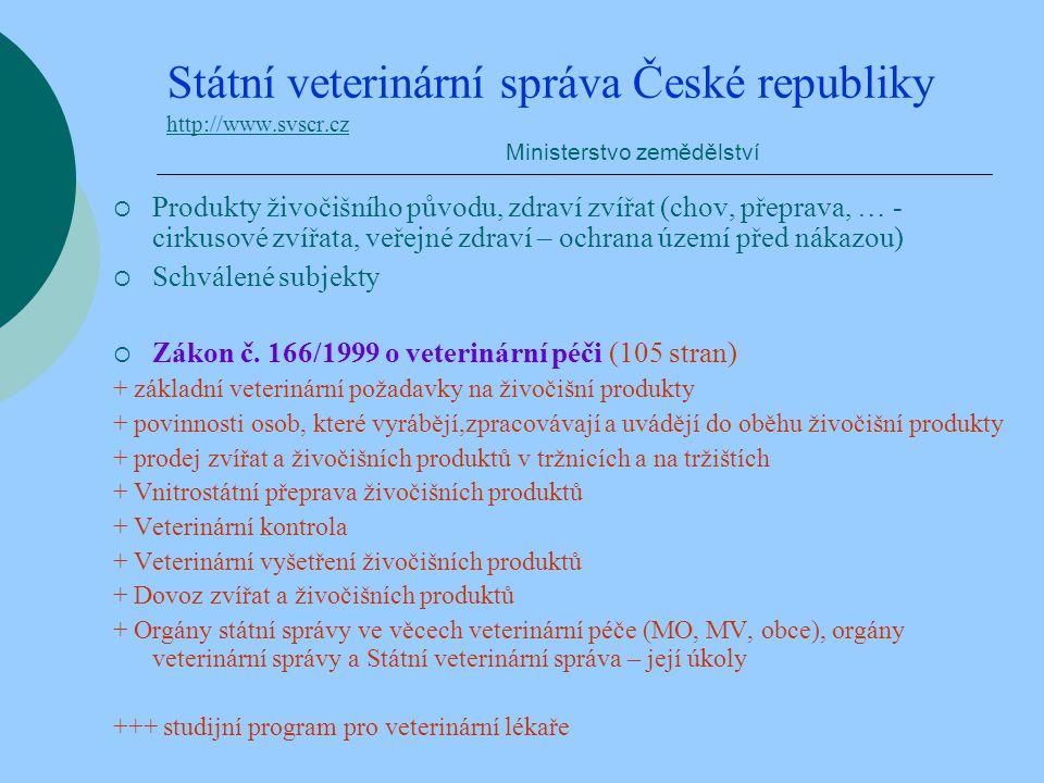 Státní veterinární správa České republiky http://www.svscr.cz Ministerstvo zemědělství http://www.svscr.cz  Produkty živočišního původu, zdraví zvířa