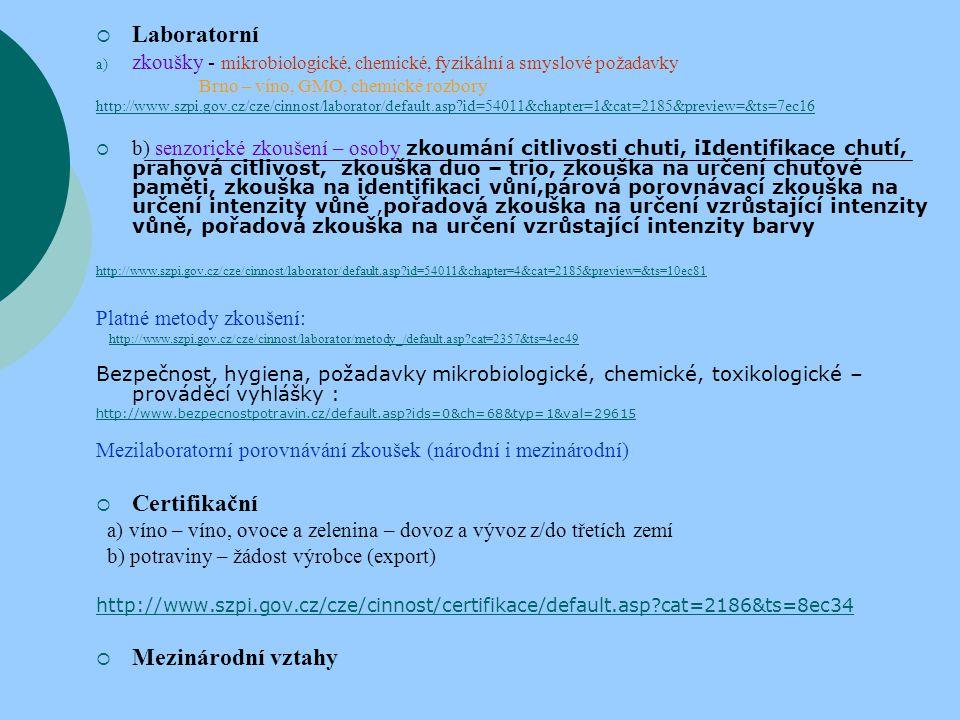  Laboratorní a) zkoušky - mikrobiologické, chemické, fyzikální a smyslové požadavky Brno – víno, GMO, chemické rozbory http://www.szpi.gov.cz/cze/cin