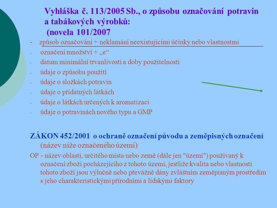 Vyhláška č. 113/2005 Sb., o způsobu označování potravin a tabákových výrobků: (novela 101/2007 - způsob označování + neklamání neexistujícími účinky n