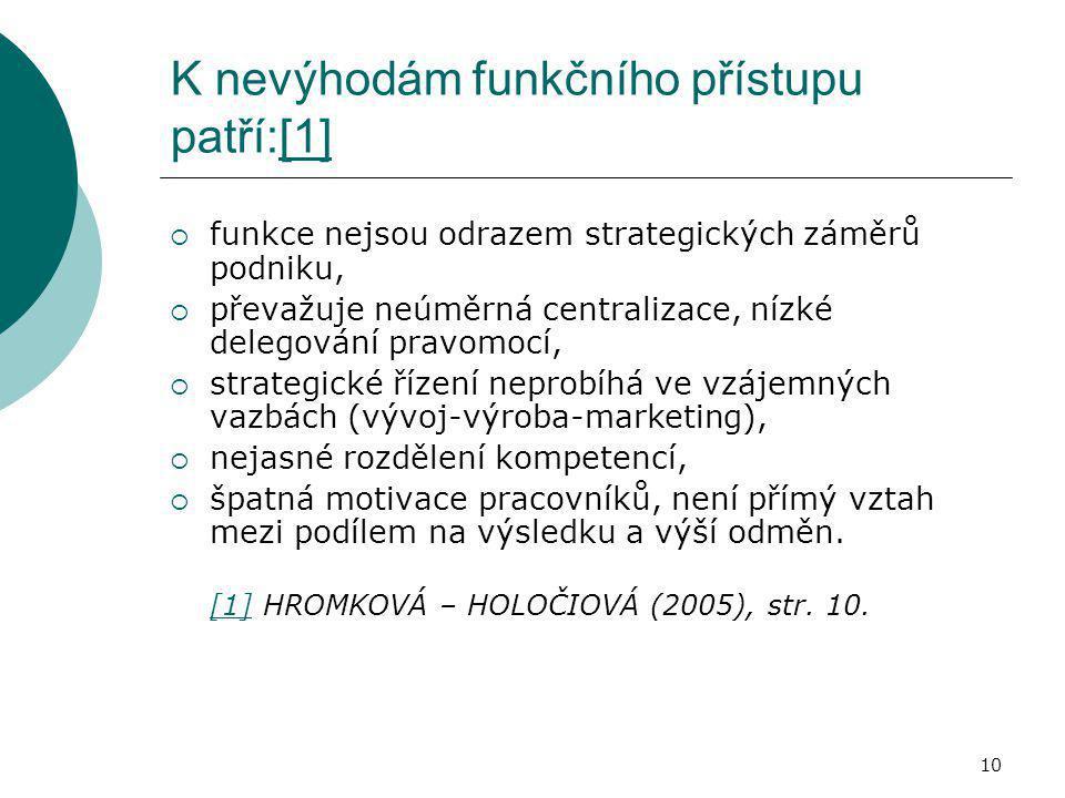 10 K nevýhodám funkčního přístupu patří:[1][1]  funkce nejsou odrazem strategických záměrů podniku,  převažuje neúměrná centralizace, nízké delegová