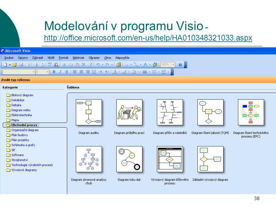 38 Modelování v programu Visio - http://office.microsoft.com/en-us/help/HA010348321033.aspx http://office.microsoft.com/en-us/help/HA010348321033.aspx