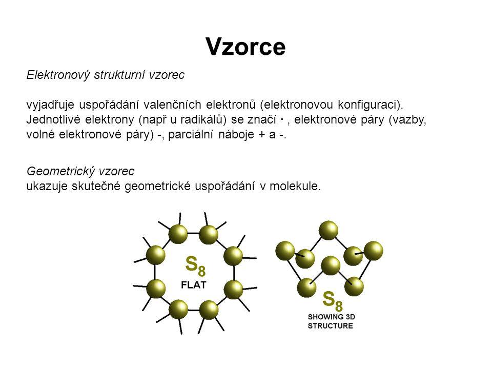 Elektronový strukturní vzorec vyjadřuje uspořádání valenčních elektronů (elektronovou konfiguraci). Jednotlivé elektrony (např u radikálů) se značí ·,