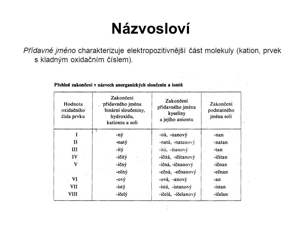 Přídavné jméno charakterizuje elektropozitivnější část molekuly (kation, prvek s kladným oxidačním číslem). Názvosloví