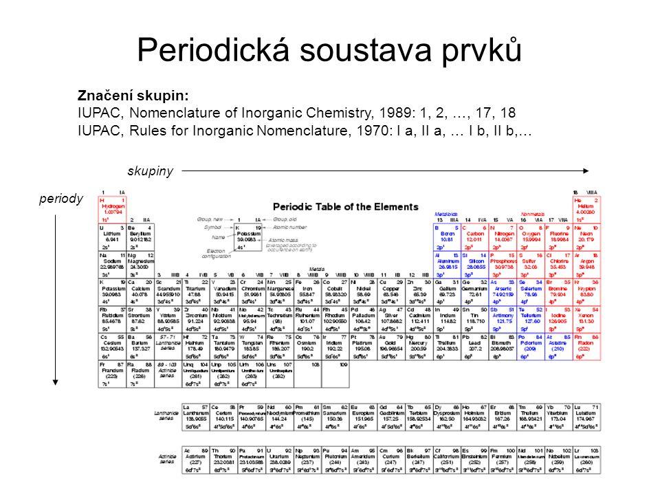 Periodická soustava prvků Značení skupin: IUPAC, Nomenclature of Inorganic Chemistry, 1989: 1, 2, …, 17, 18 IUPAC, Rules for Inorganic Nomenclature, 1