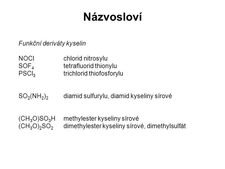 Názvosloví Funkční deriváty kyselin NOClchlorid nitrosylu SOF 4 tetrafluorid thionylu PSCl 3 trichlorid thiofosforylu SO 2 (NH 2 ) 2 diamid sulfurylu,