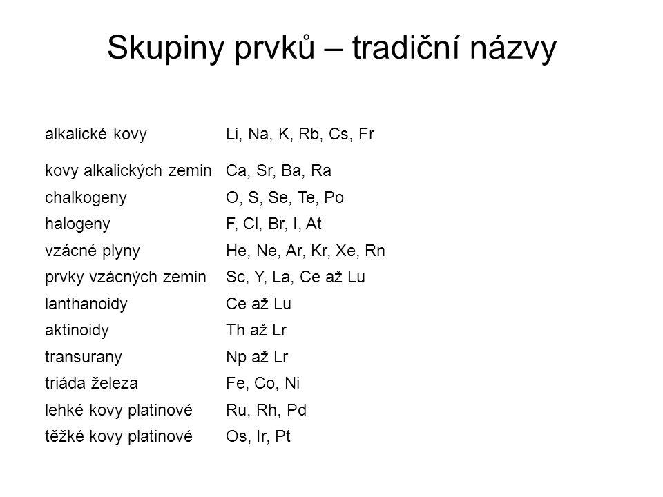 Skupiny prvků – tradiční názvy alkalické kovyLi, Na, K, Rb, Cs, Fr kovy alkalických zeminCa, Sr, Ba, Ra chalkogenyO, S, Se, Te, Po halogenyF, Cl, Br,