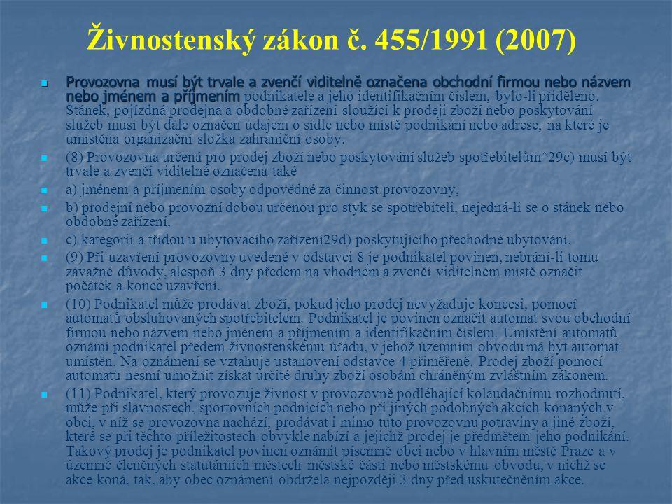 Živnostenský zákon č.