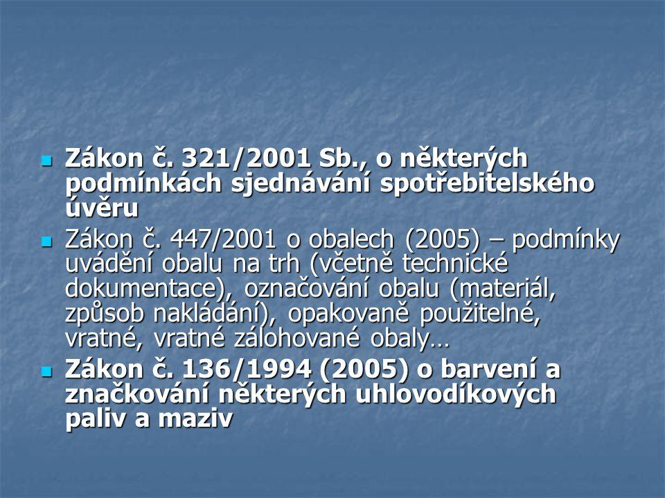 Zákon č.321/2001 Sb., o některých podmínkách sjednávání spotřebitelského úvěru Zákon č.