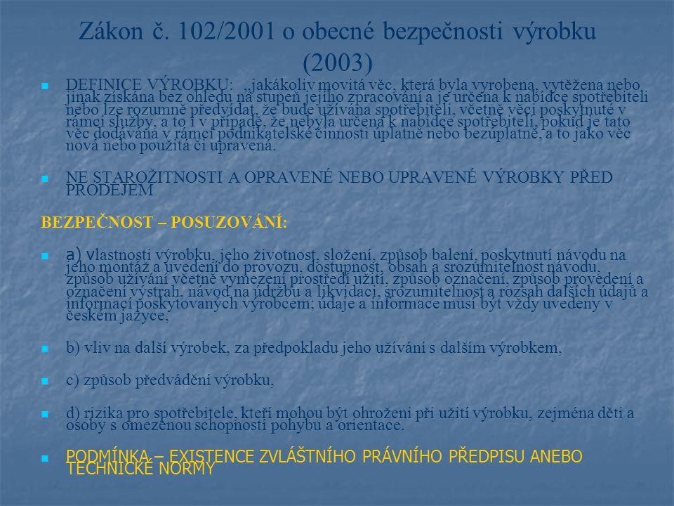 Průvodní dokumentace a označení, tj.