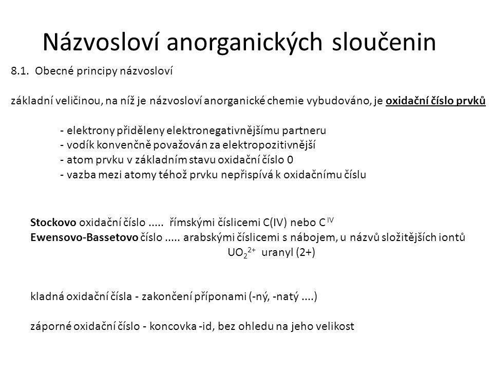 Názvosloví anorganických sloučenin 8.1.