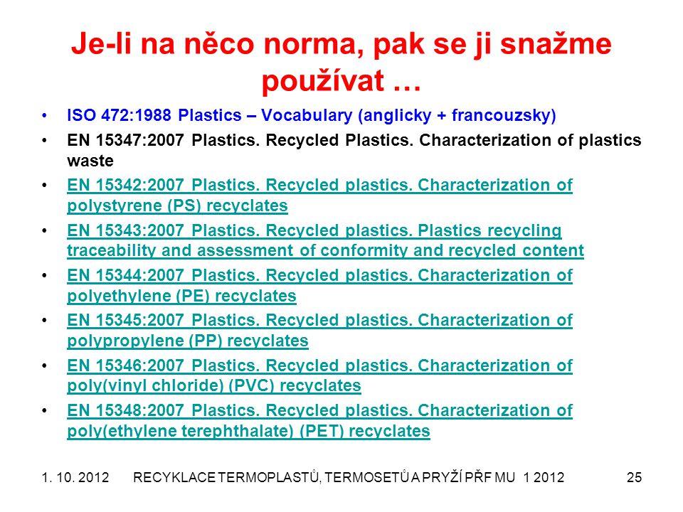 Je-li na něco norma, pak se ji snažme používat … ISO 472:1988 Plastics – Vocabulary (anglicky + francouzsky) EN 15347:2007 Plastics. Recycled Plastics