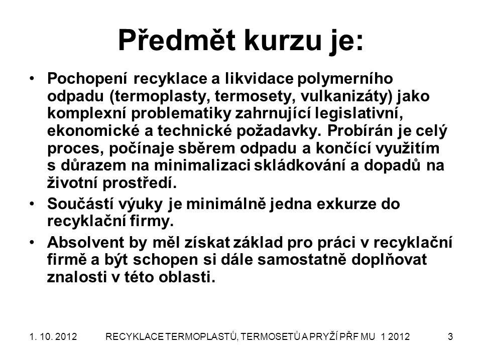 RECYKLACE TERMOPLASTŮ, TERMOSETŮ A PRYŽÍ PŘF MU 1 20123 Předmět kurzu je: Pochopení recyklace a likvidace polymerního odpadu (termoplasty, termosety,