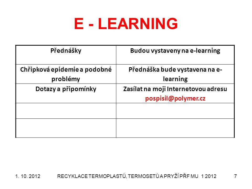 RECYKLACE TERMOPLASTŮ, TERMOSETŮ A PRYŽÍ PŘF MU 1 20127 E - LEARNING PřednáškyBudou vystaveny na e-learning Chřipková epidemie a podobné problémy Před