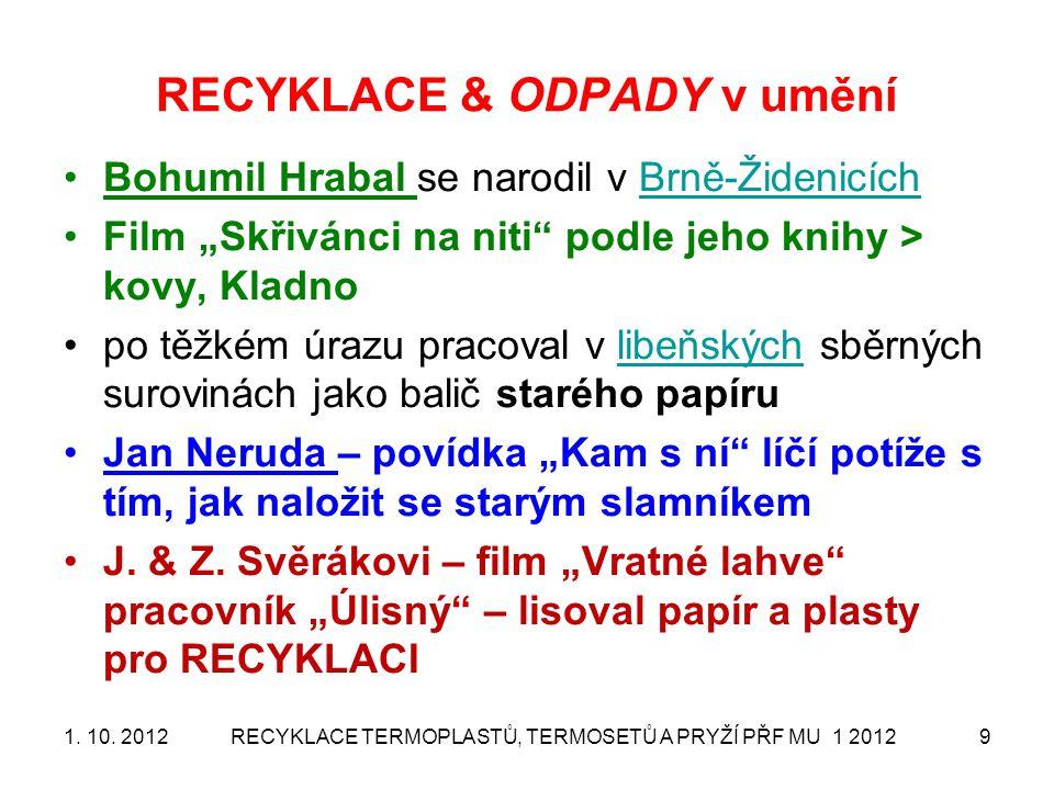 """RECYKLACE & ODPADY v umění Bohumil Hrabal se narodil v Brně-ŽidenicíchBrně-Židenicích Film """"Skřivánci na niti"""" podle jeho knihy > kovy, Kladno po těžk"""