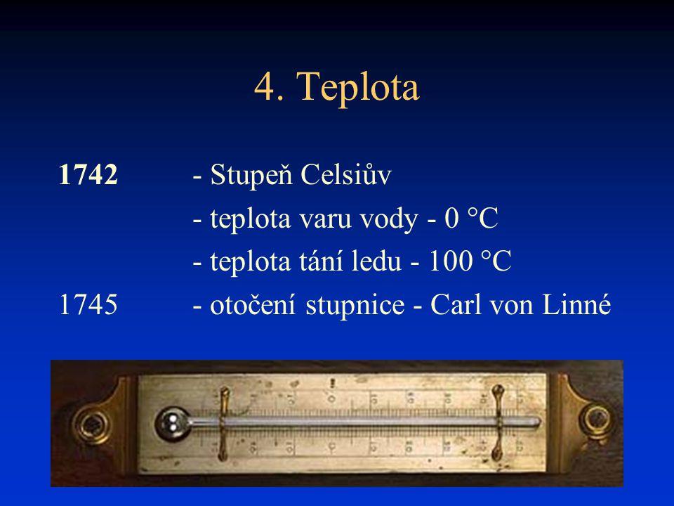 4. Teplota 1742 - Stupeň Celsiův - teplota varu vody - 0 °C - teplota tání ledu - 100 °C 1745- otočení stupnice - Carl von Linné
