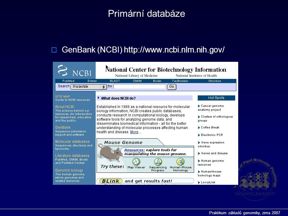Praktikum základů genomiky, zima 2007 Primární databáze  GenBank (NCBI) http://www.ncbi.nlm.nih.gov/