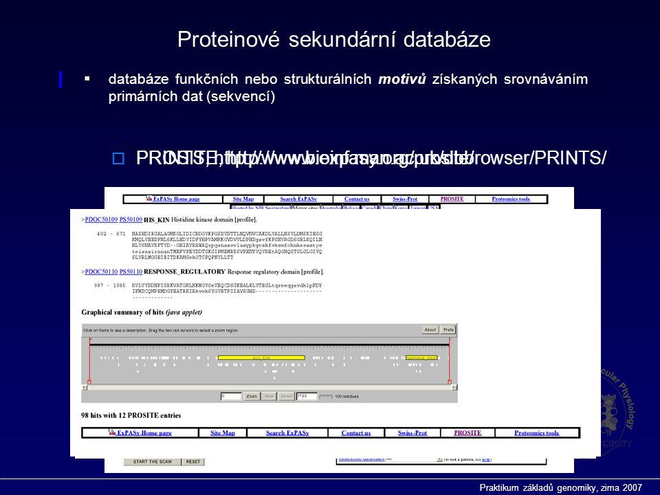 Praktikum základů genomiky, zima 2007  PROSITE, http://www.expasy.org/prosite/  databáze funkčních nebo strukturálních motivů získaných srovnáváním primárních dat (sekvencí) Proteinové sekundární databáze  PRINTS, http://www.bioinf.man.ac.uk/dbbrowser/PRINTS/