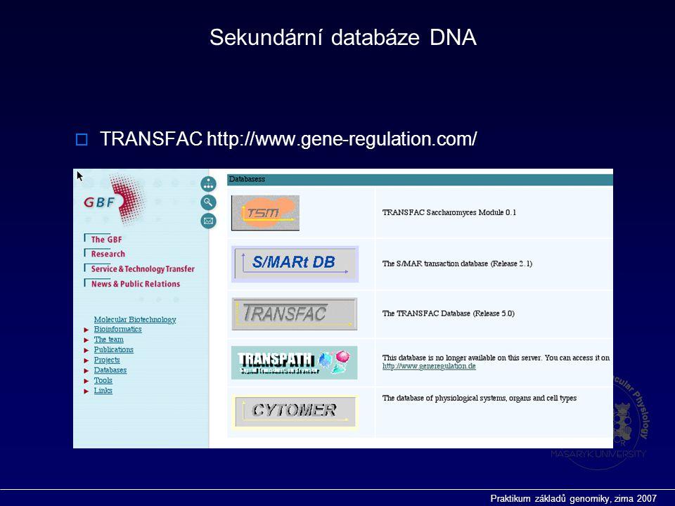 Praktikum základů genomiky, zima 2007  TRANSFAC http://www.gene-regulation.com/ Sekundární databáze DNA