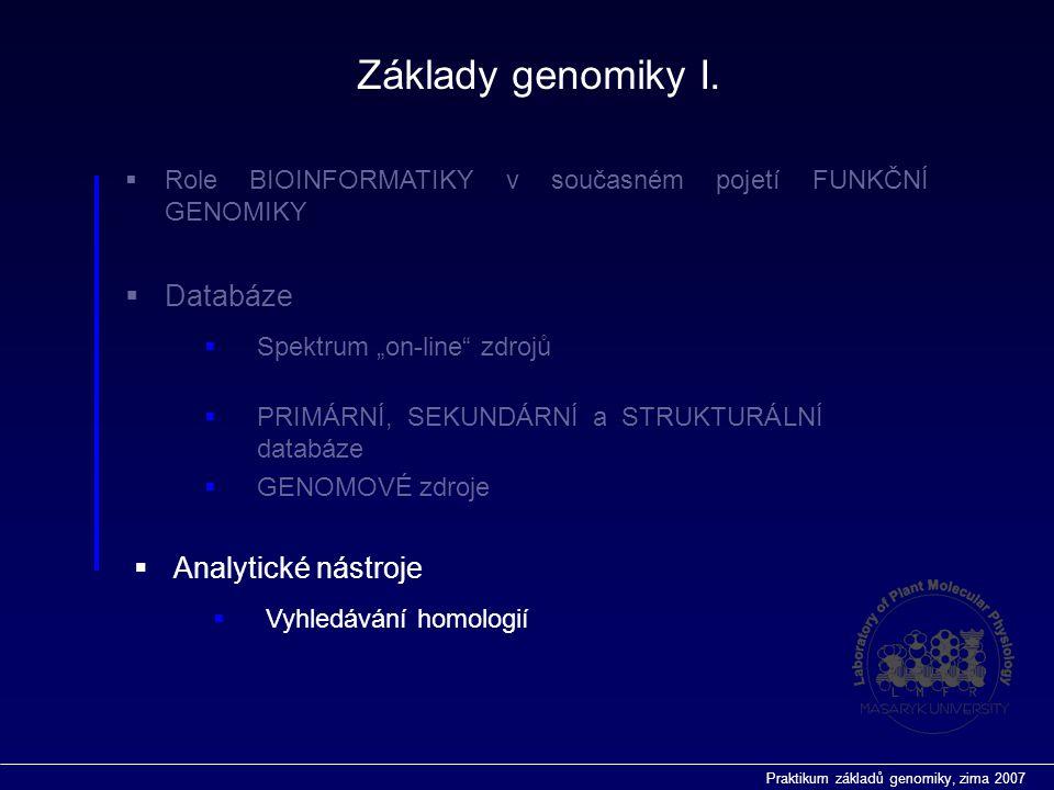 """Praktikum základů genomiky, zima 2007  Role BIOINFORMATIKY v současném pojetí FUNKČNÍ GENOMIKY  Databáze  Vyhledávání homologií  Analytické nástroje  Spektrum """"on-line zdrojů  PRIMÁRNÍ, SEKUNDÁRNÍ a STRUKTURÁLNÍ databáze  GENOMOVÉ zdroje Základy genomiky I."""