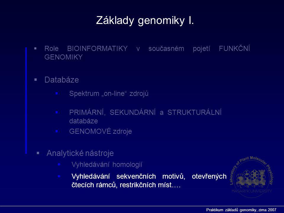 """Praktikum základů genomiky, zima 2007  Role BIOINFORMATIKY v současném pojetí FUNKČNÍ GENOMIKY  Databáze  Vyhledávání homologií  Analytické nástroje  Spektrum """"on-line zdrojů  PRIMÁRNÍ, SEKUNDÁRNÍ a STRUKTURÁLNÍ databáze  GENOMOVÉ zdroje  Vyhledávání sekvenčních motivů, otevřených čtecích rámců, restrikčních míst…."""