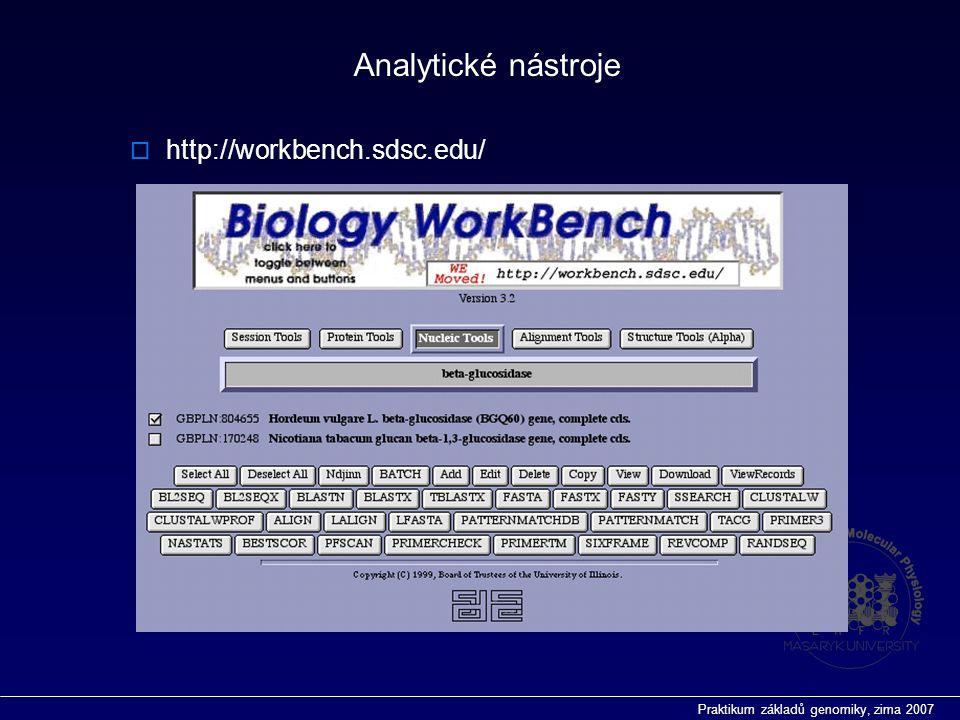Praktikum základů genomiky, zima 2007  http://workbench.sdsc.edu/ Analytické nástroje