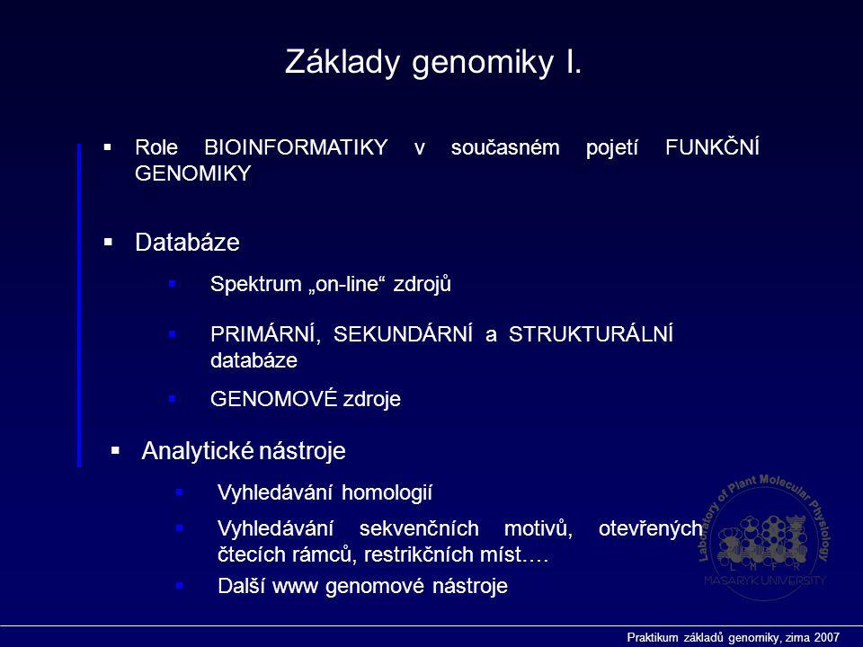 Praktikum základů genomiky, zima 2007 Analytické nástroje  BLAST http://ncbi.nlm.nih.gov/BLAST/