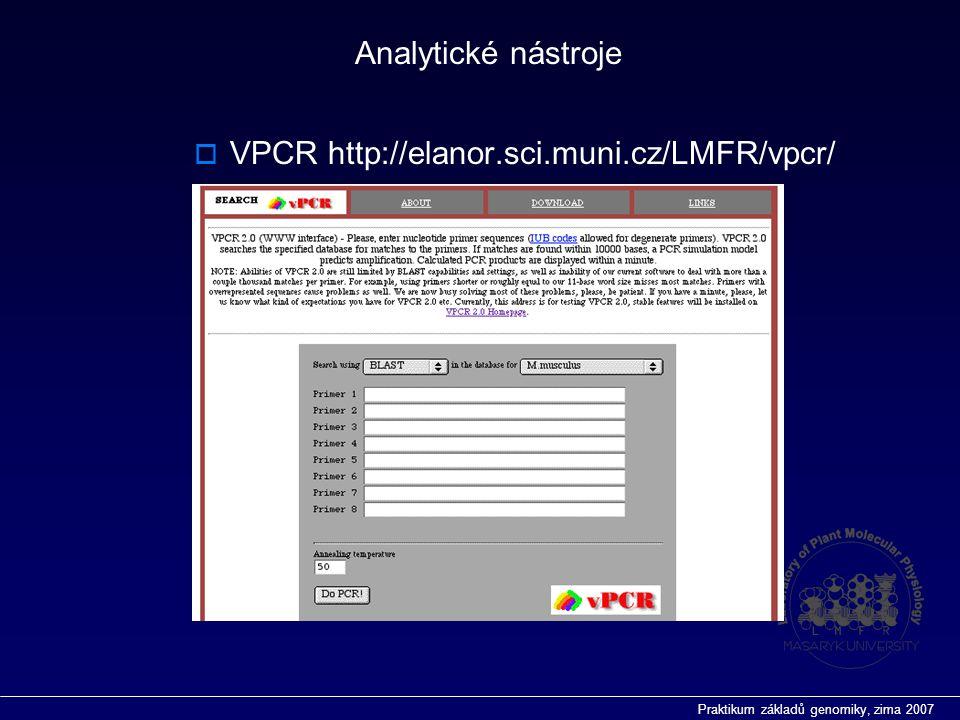 Praktikum základů genomiky, zima 2007 Analytické nástroje  VPCR http://elanor.sci.muni.cz/LMFR/vpcr/
