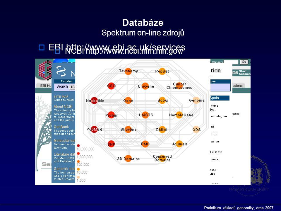 Praktikum základů genomiky, zima 2007 Databáze Spektrum on-line zdrojů  EBI http://www.ebi.ac.uk/services  NCBI http://www.ncbi.nlm.nih.gov/