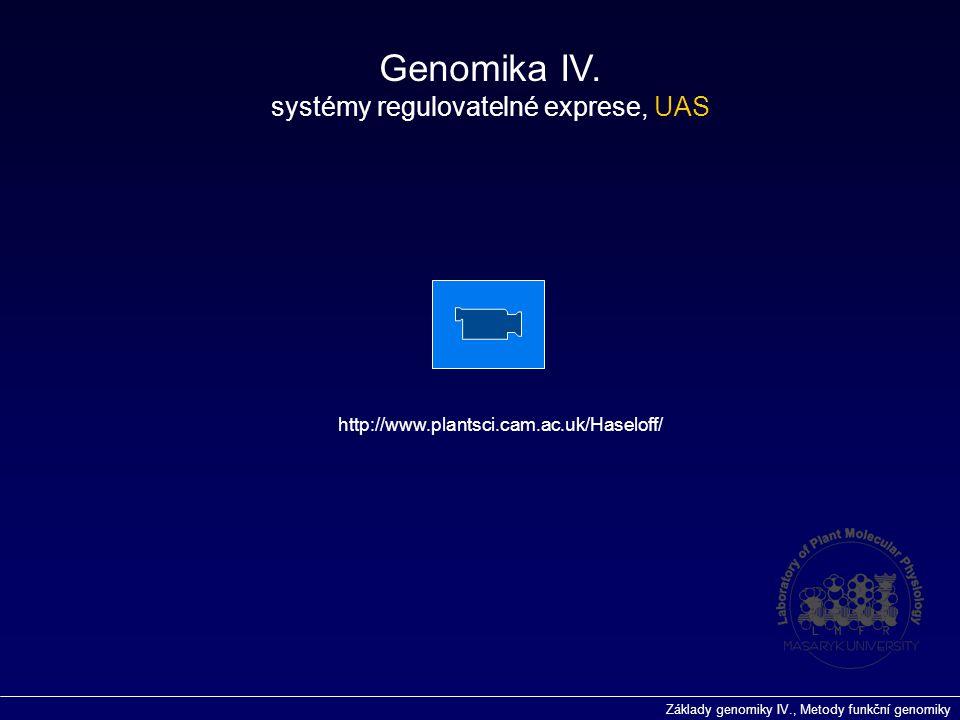 Základy genomiky IV., Metody funkční genomiky Genomika IV. systémy regulovatelné exprese, UAS http://www.plantsci.cam.ac.uk/Haseloff/