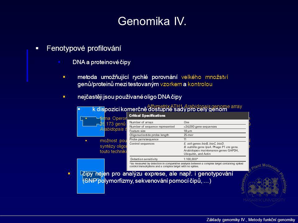 Základy genomiky IV., Metody funkční genomiky  Fenotypové profilování  DNA a proteinové čipy Genomika IV.  metoda umožňující rychlé porovnání velké