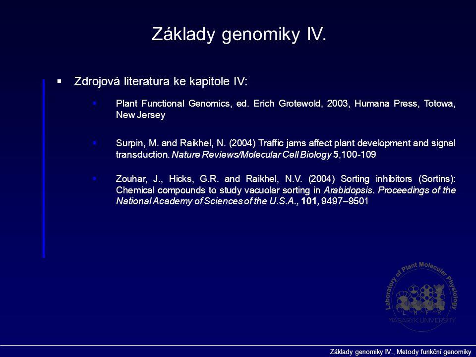 Základy genomiky IV., Metody funkční genomiky  Zdrojová literatura ke kapitole IV: Základy genomiky IV.  Plant Functional Genomics, ed. Erich Grotew