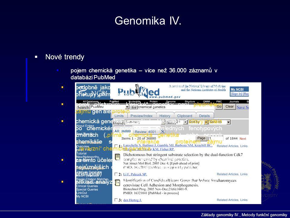 Základy genomiky IV., Metody funkční genomiky Genomika IV.  Nové trendy  pojem chemická genetika – více než 36.000 záznamů v databázi PubMed  podob