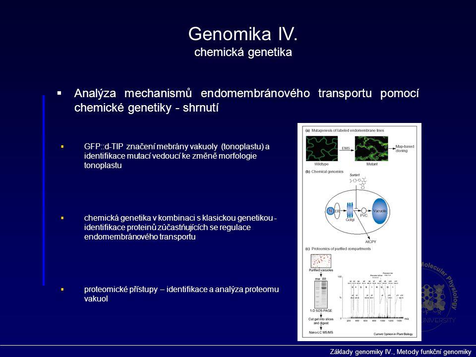 Základy genomiky IV., Metody funkční genomiky Genomika IV. chemická genetika  Analýza mechanismů endomembránového transportu pomocí chemické genetiky