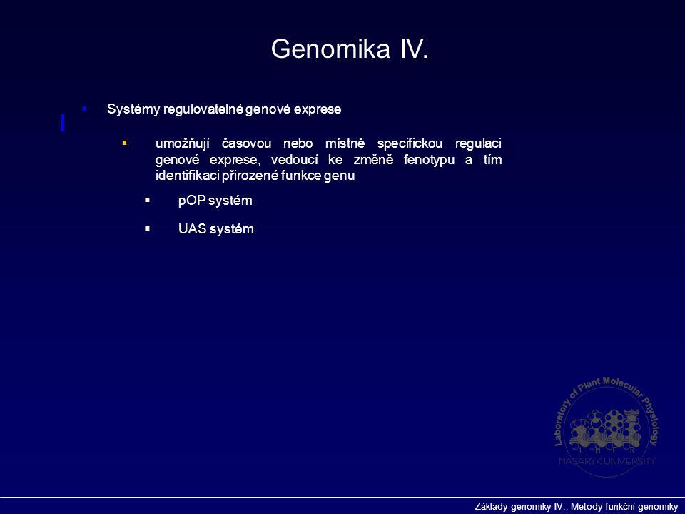 Základy genomiky IV., Metody funkční genomiky Genomika IV.  Systémy regulovatelné genové exprese  umožňují časovou nebo místně specifickou regulaci