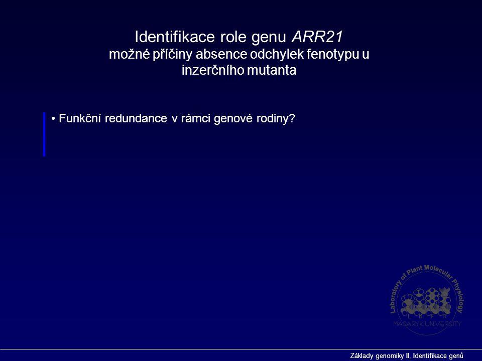 Základy genomiky II, Identifikace genů Funkční redundance v rámci genové rodiny? Identifikace role genu ARR21 možné příčiny absence odchylek fenotypu