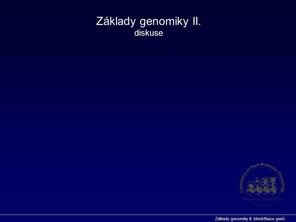Základy genomiky II, Identifikace genů Základy genomiky II. diskuse