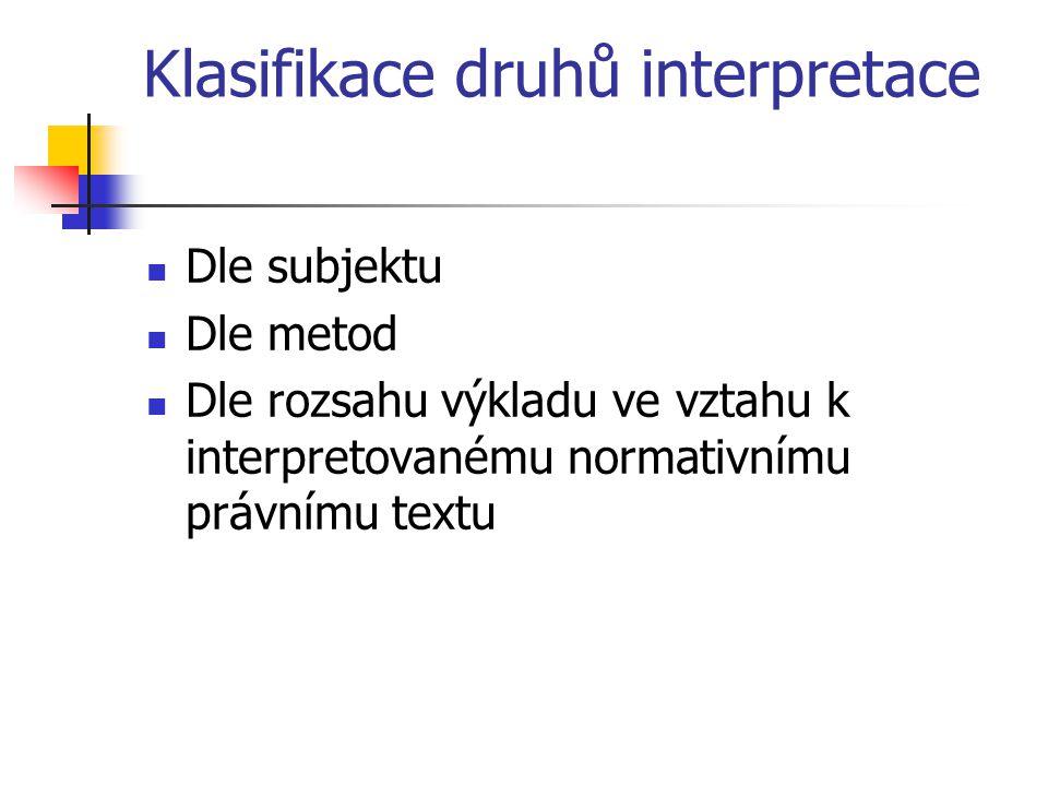 Klasifikace druhů interpretace Dle subjektu Dle metod Dle rozsahu výkladu ve vztahu k interpretovanému normativnímu právnímu textu