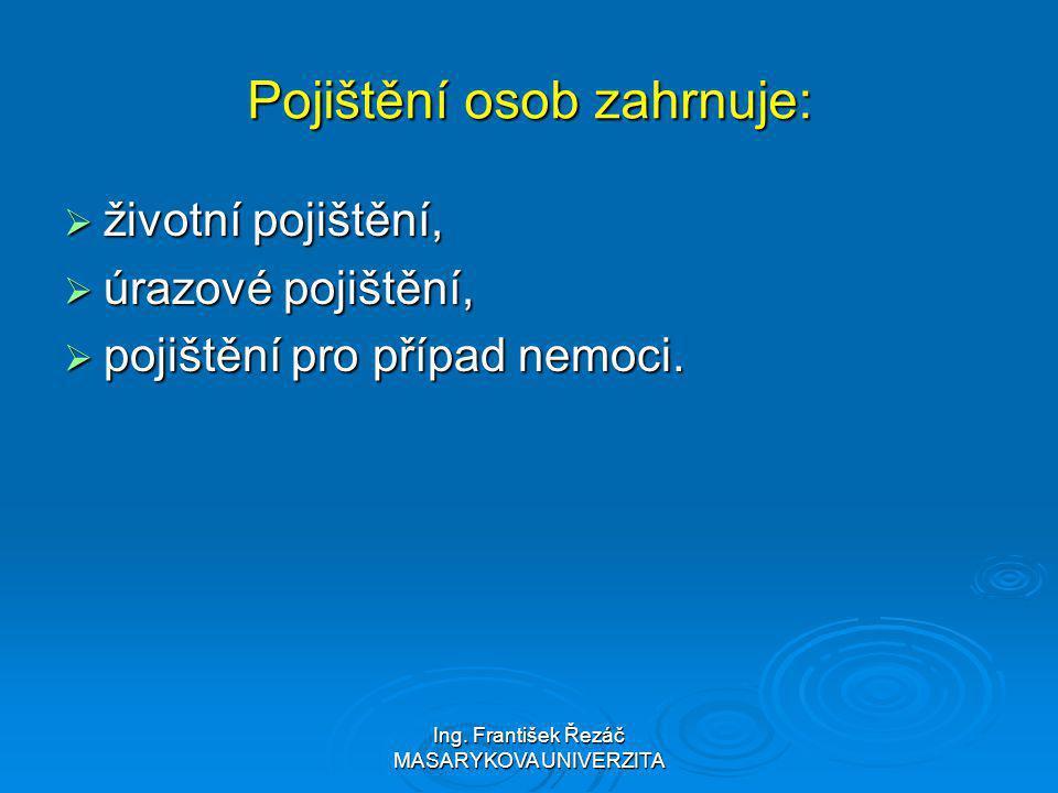 Ing. František Řezáč MASARYKOVA UNIVERZITA Pojištění osob zahrnuje:  životní pojištění,  úrazové pojištění,  pojištění pro případ nemoci.