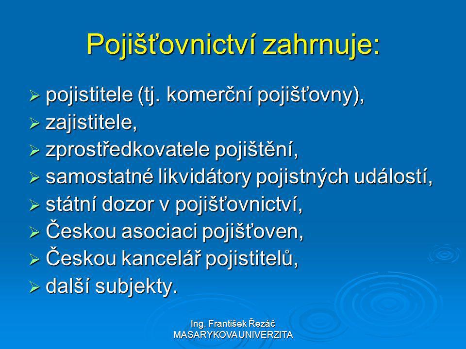Ing. František Řezáč MASARYKOVA UNIVERZITA Pojišťovnictví zahrnuje:  pojistitele (tj. komerční pojišťovny),  zajistitele,  zprostředkovatele pojišt
