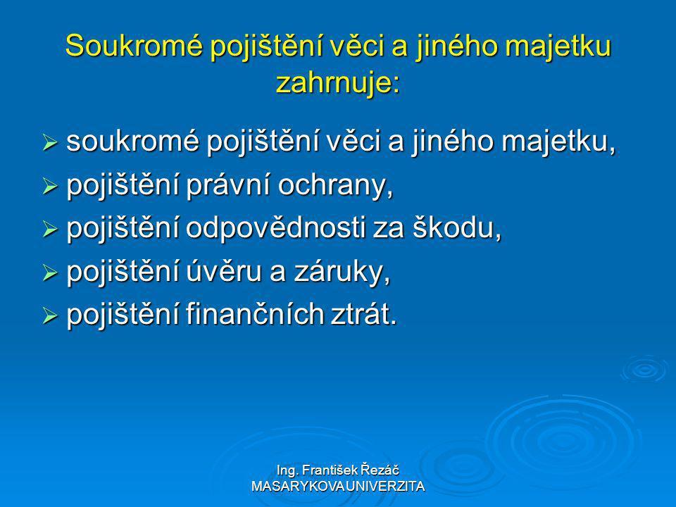 Ing. František Řezáč MASARYKOVA UNIVERZITA Soukromé pojištění věci a jiného majetku zahrnuje:  soukromé pojištění věci a jiného majetku,  pojištění