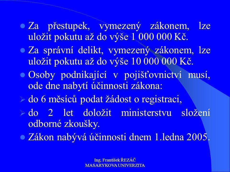 Ing. František ŘEZÁČ MASARYKOVA UNIVERZITA Za přestupek, vymezený zákonem, lze uložit pokutu až do výše 1 000 000 Kč. Za správní delikt, vymezený záko