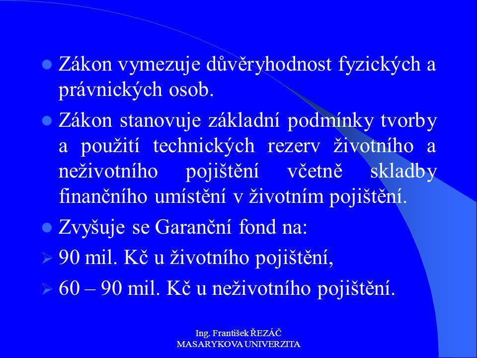 Ing. František ŘEZÁČ MASARYKOVA UNIVERZITA Zákon vymezuje důvěryhodnost fyzických a právnických osob. Zákon stanovuje základní podmínky tvorby a použi
