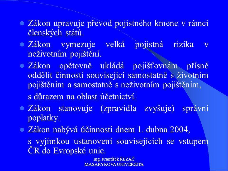 Ing. František ŘEZÁČ MASARYKOVA UNIVERZITA Zákon upravuje převod pojistného kmene v rámci členských států. Zákon vymezuje velká pojistná rizika v neži