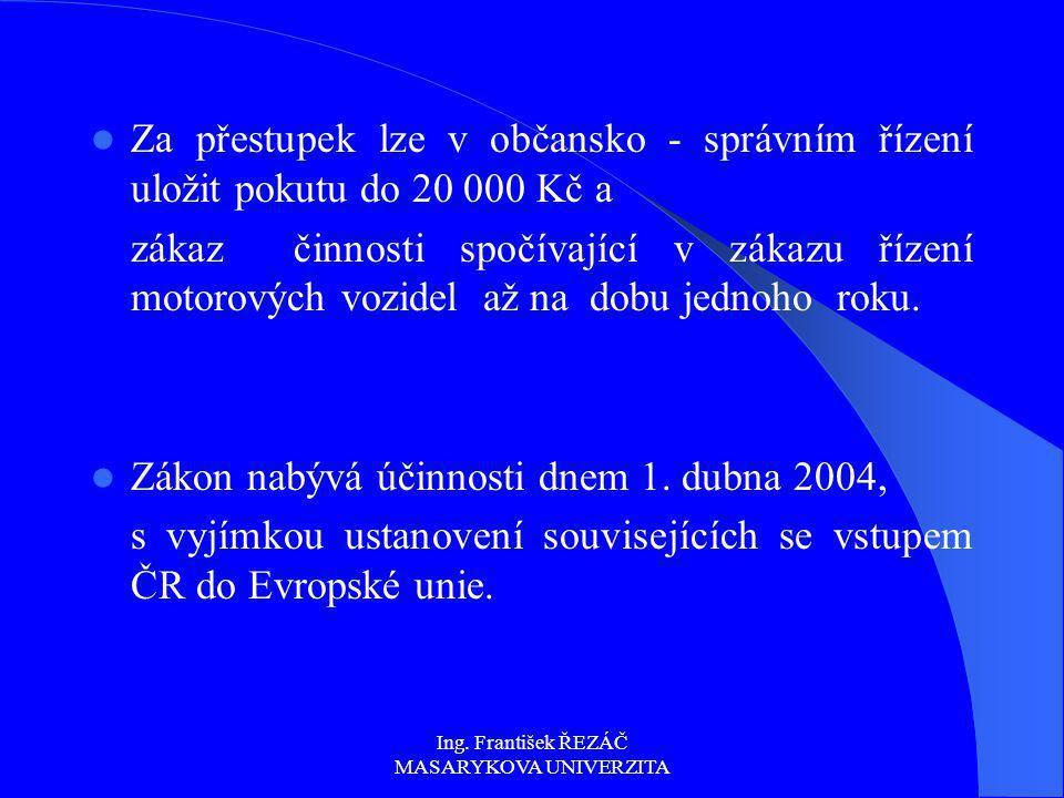 Ing. František ŘEZÁČ MASARYKOVA UNIVERZITA Za přestupek lze v občansko - správním řízení uložit pokutu do 20 000 Kč a zákaz činnosti spočívající v zák